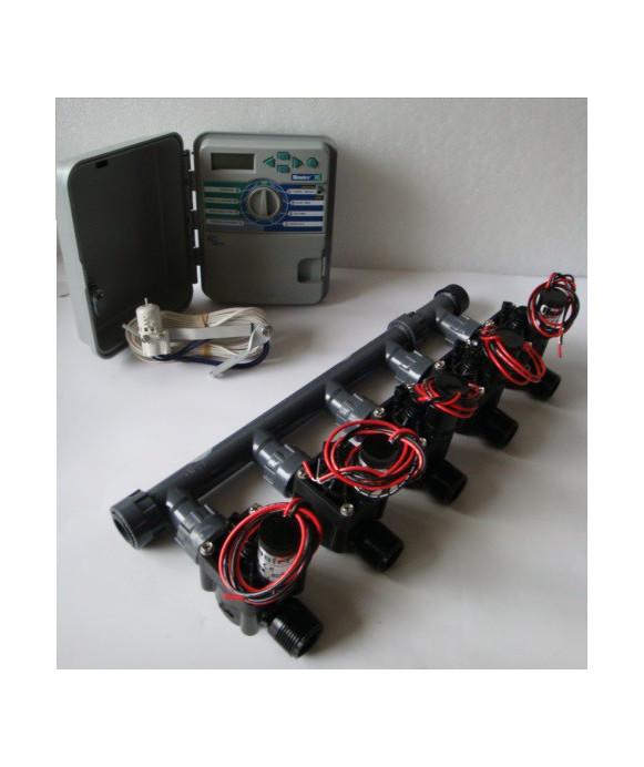 Kit con 5 elettrovalvole + programmatore XCH + sensore pioggia