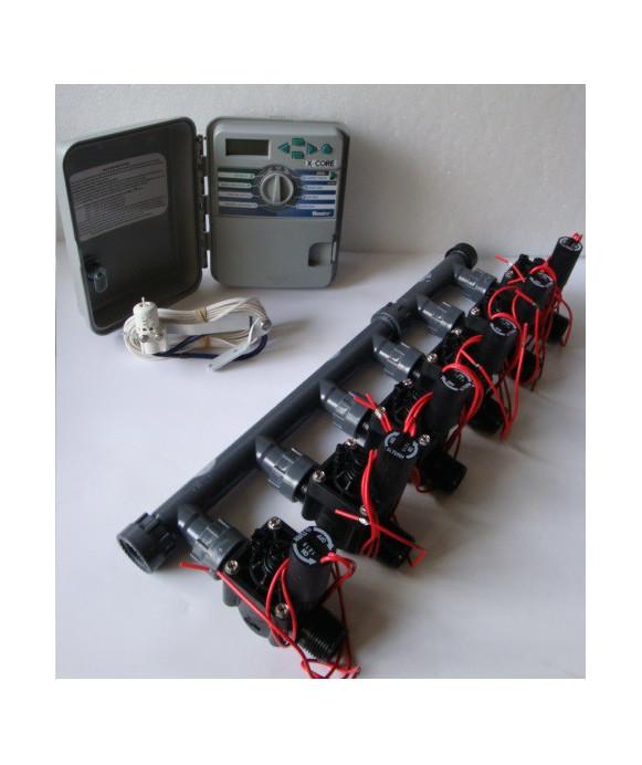 Kit con 6 elettrovalvole + programmatore XCH + sensore pioggia