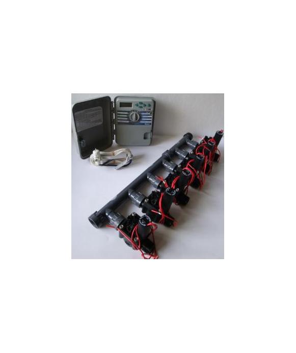 Kit with 6 valves + outdoor controller + rain sensor