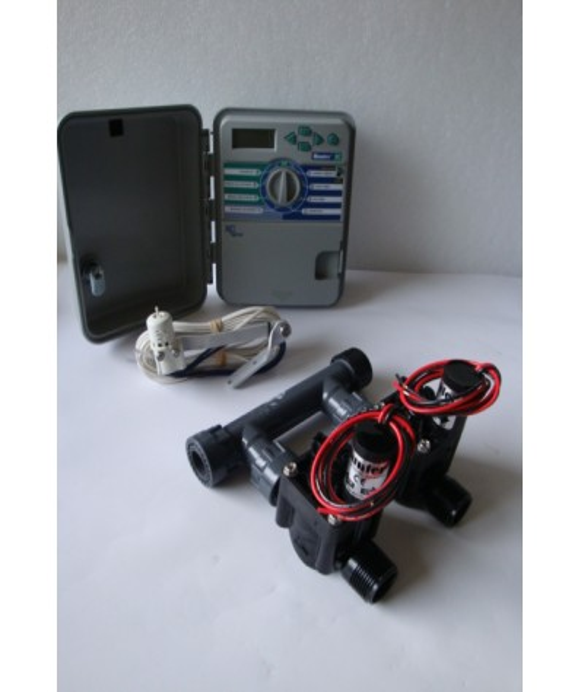 Kit con 2 elettrovalvole + programmatore da esterno + sensore pioggia