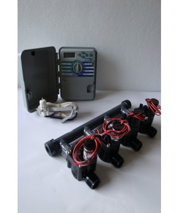Kit with 4 valves + outdoor controller + rain sensor