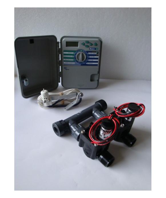 Kit con 2 elettrovalvole + programmatore XCH + sensore pioggia