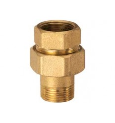 Pipe coupling 3 pieces M-F in brass