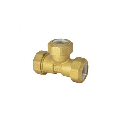Tee in brass for PE pipe