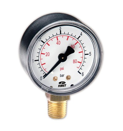 """Manometer 0-15 BAR in glycerine with stainless steel case - 1/4""""M - FIMET"""