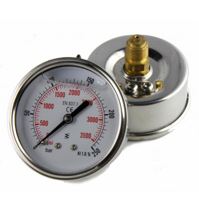 """Manometer 0-60 BAR in glycerine with stainless steel case with back connection - 1/4""""M - FIMET"""