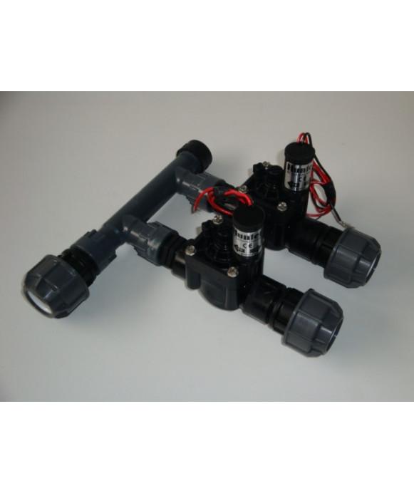 Collettore a 2 uscite con elettrovalvole a 24 V. e raccordi