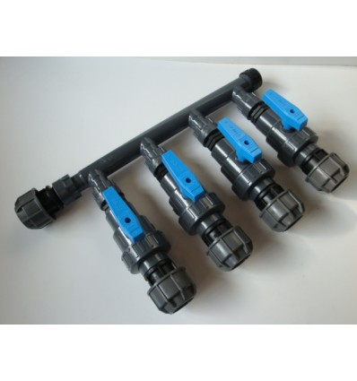 """Manifold d.1"""" with 4 ways with taps and fittings"""
