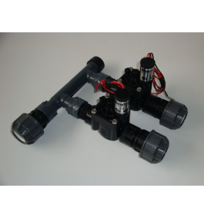 """Manifold d.1"""" with 2 ways valve 9V and fittings"""